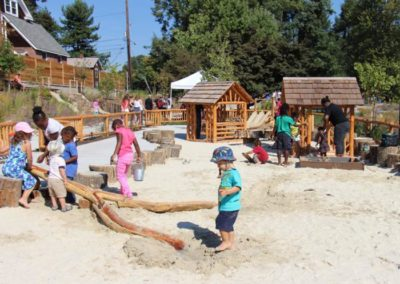 Log Town's giant sand and water area is extra deep and built to infiltrate stormwater