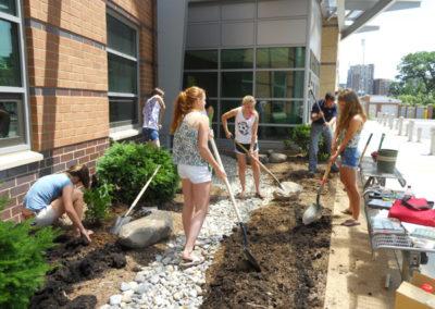 Preparing the soil.
